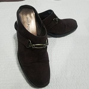 *Brown suede like clogs size 7